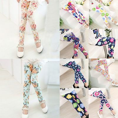 Girls Cute Skinny Leggings Casual Kids Stretchy Pants Trousers for 2-13 Year~~-