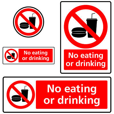 No Eating or Drinking Prohibition Sign Sticker