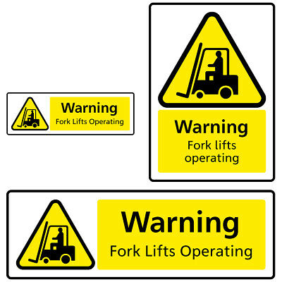 Fork Lifts Operating Hazard Warning Health and Safety Sign Sticker
