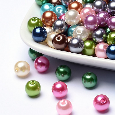 Imitated Pearl Acrylic Beads Round 8mm Dia Hole 2mm Choose Color(PACR-8D)