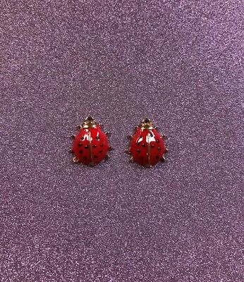 2  Gold Plated Red Enamel Lady Bug Charms