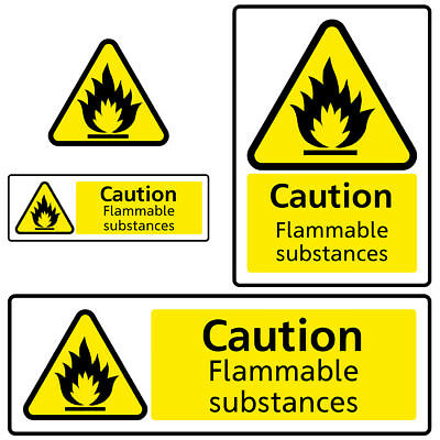 Flammable Substances Warning Hazard Health and Safety Sign Sticker