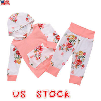 US Newborn Toddler Baby Girl Boy Winter Outfits Floral Clothes Hoodie Tops Pants