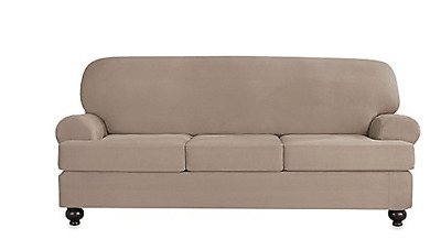 Sure Fit Stretch Suede Sofa Slipcover 3 Seater Box Or T Seat Cushion Style  Linen