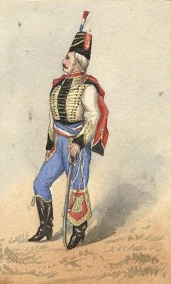Albert Harcourt, French Hussar - Original late 19th-century watercolour painting