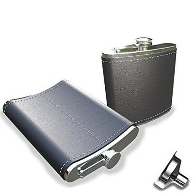 Pocket Hip Flask 7 Oz with Funnel, JsmHome - 18/8 Stainless Steel Black Leather