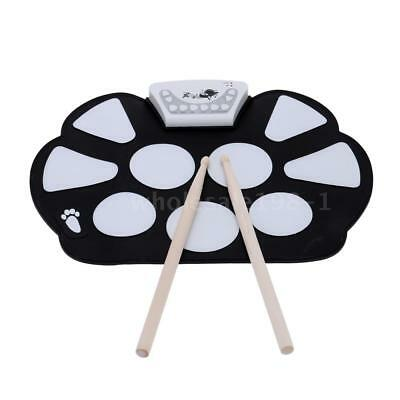 Portable Foldable Electronic Roll up Drum Pad Kit Silicon with Sticks Gift