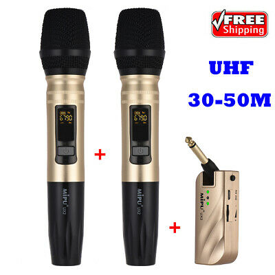 UHF Dual Frequency Wireless Handheld Microphone Mic System (1 Receiver + 2 Q0P9