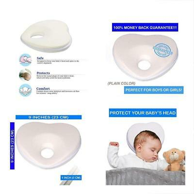 Baby Pillow For Flat Head,100% Organic Breathable Cotton, Memory Foam, Prevents