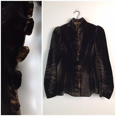 RARE Antique Mid / late 1800s Victorian Dark Brown Button Up Fur Coat Girls Size