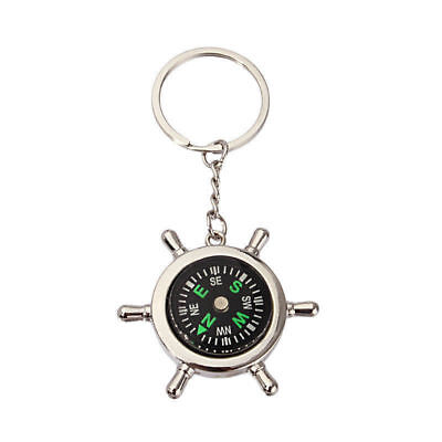 Portable-Rudder-Keychain-Ring-Precise-Compass-Camping-Hiking-Hunting-Black