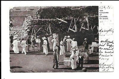 St Lucia Postcard 1906 Coalyard St Lucia Posted Dominica To Uk (Creased Corner)