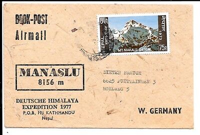 Nepal 1977 Manaslu Airmail Cover To Germany