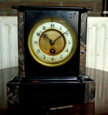 """FRENCH"" Mantel Clock, Slate & Marble, Works with Key, Stamped 32838 D c1890-10"