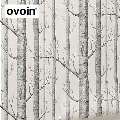 Black White Birch Tree Wallpaper For Bedroom Living Room Roll Rustic Forest Wood