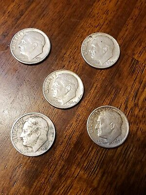 5 Mixed Date Roosevelt Dimes - 90% Silver Lot