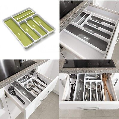 Non slip Extendable Adjustable Plastic Cutlery Holder Tray Drawer soft touch