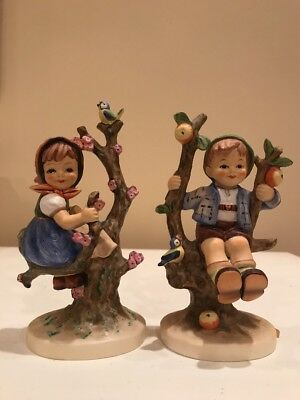 Hummel #141/1 And 142/1 Apple Tree Girl And Apple Tree Boy Signed Germany 6 TAGS