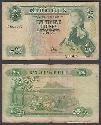 Mauritius 25 Rupees 1967 (VG+) Condition Banknote P-32 QEII