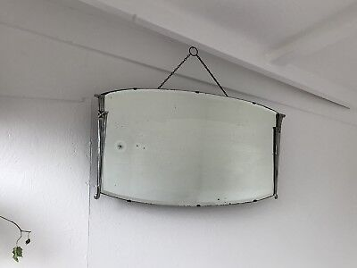 Bevelled Frameless Mirror Vintage Art Deco Metal Crested Frameless Mirror