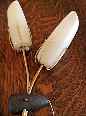 1950's Pair of Vintage Double Wall Lights Sconce Art Deco