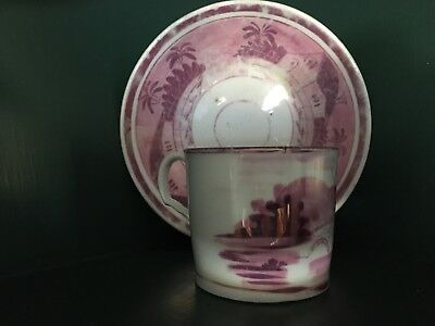 Antique Staffordshire England Pink Lustre Ware Cup & Saucer Luster Art Pottery