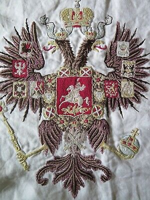 Russian/European Antique c1840-60 Royal Heraldic Crest Hand Embroidered On Linen