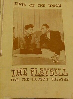 """Vintage playbill """"State of the Union"""" Hudson Theatre 1940s"""