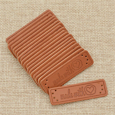 20 Pcs Brown Made with Heart PU Leather Handmade Label Tags DIY Sewing Craft