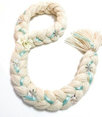 Disney Frozen Elsa Inspired Head Band Braid with Snowflakes, Flowers & Ribbon