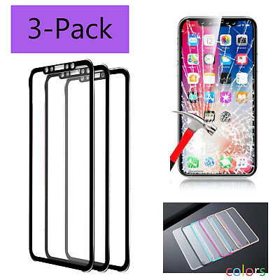 3x 3D Full Coverage Tempered Glass Screen Protector Cover For iPhone X 7 8 Plus