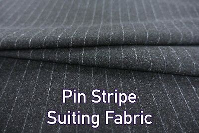 High Quality Charcoal Pinstripe Poly Viscose Suit Coat Skirt Dressmaking Fabric