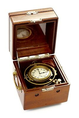 Very Fine Early Waltham Wwii Navy Marine Chronometer 8 Day Boxed Gimballed