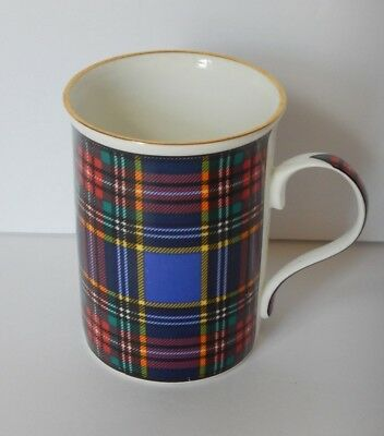 Crown Trent Mug Staffordshire England Bone China Cup Tartan Plaid Bond Street