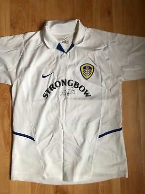 Leeds United 2002-2003 Home Shirt. Signed by Club Legend Alan Smith