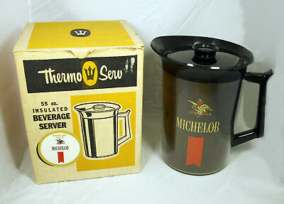 Vintage West Bend Thermo-Serv Insulated Plastic Pitcher and Lid – 1970s Michelob