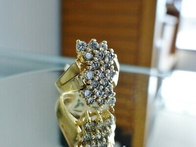 1/2CT. Vintage Diamond Waterfall Round Cut Cluster Ring 14K Yellow Gold