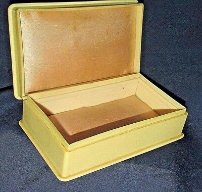 Antique Cream Bakelite Box Satin Lined Hinged Lid Made in England 15.5CmW