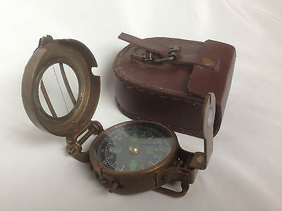 Nautical Brass  Military Pocket Compass Lensatic Antique finish  Leather case