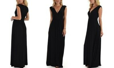 NEW WOMEN S EVANS Black Sleeveless Palm Border Maxi Shift Dress Size ... 82517204e