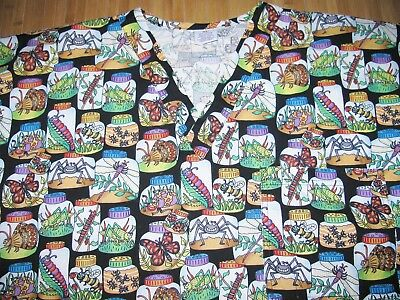 S.C.R.U.B.S. Scrubs TOP Shirt Size XL Cotton BLACK with Insects BUGS IN A JAR