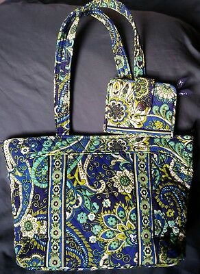 05d38e80be03 Vera Bradley Large Mandy Tote   Matching Snappy Wallet in Rhythm   Blues-  NWOT