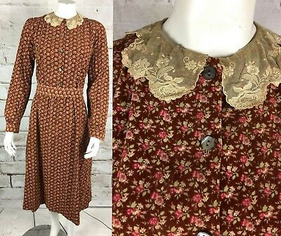 bc13dcaa2c8 Vintage 70s 1970s Laura Ashley Tiny Floral M Corduroy Prairie Midi Dress  Wales