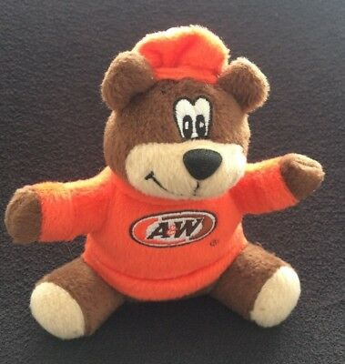 """2003 A&W Root Beer ADVERTISING GREAT ROOTY BEAR Plush 6"""" FAST FOOD PREMIUM"""