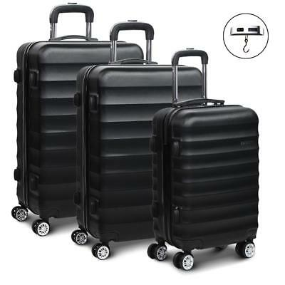 Black 3pc Luggage Suitcase Set TSA Travel Carry Bag Hard Shell Case Lightweight