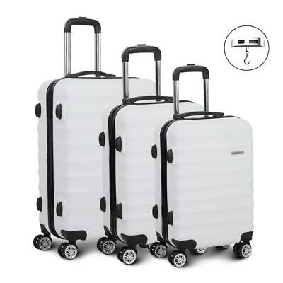 White 3pc Luggage Suitcase Set TSA Travel Carry Bag Hard Shell Case Lightweight