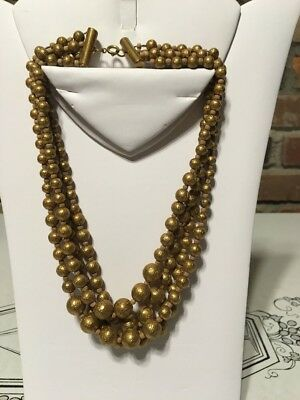 Antique Vintage Art Deco 4 Strand link Metal Ball chain Brass gold tone Necklace