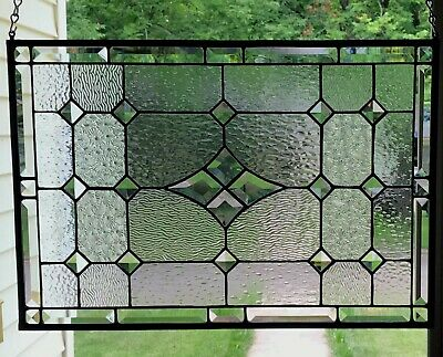 """Transom Stained Glass Window Panel w/Bevels - apprx size 22"""" x 12"""""""