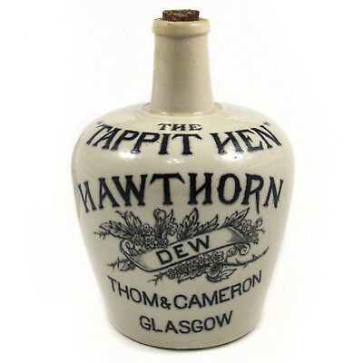 Antique Tappit Hen Hawthorn Dew Thom & Cameron Scotch whisky stoneware jug