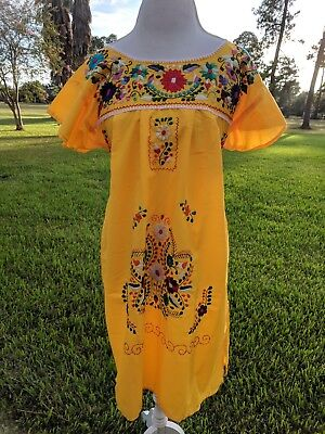 Mexican Hand Embroidered Peasant Hippie Boho Yellow Dress Size M